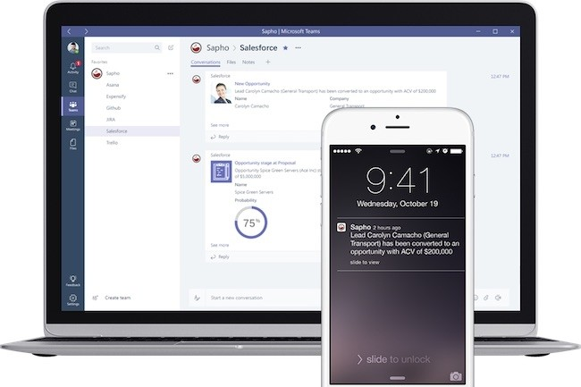Sapho s'intègre aussi avec Slack, Sharepoint, Facebook Workplace, et d'autres intégrations avec HipChat, Cisco Spark et Google Hangouts Chat sont prévues.