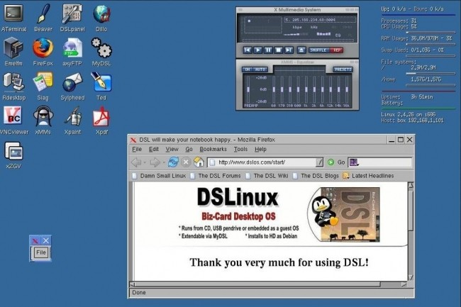 Il n'y pas que les distributions Linux Fedora, Red Hat ou Ubuntu dans la vie : d'autres comme CAINE Linux, GNewSense ou encore comme ici Damn Small Linux méritent d'être approchées. (crédit : D.R.)