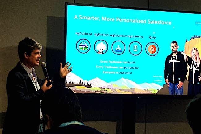 Alexandre Dayon, chief product officier de Salesforce, lors du point presse organisé sur Dreamforce 2017 à San Francisco. (crédit : S.L.)