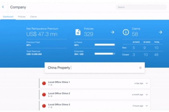 Le prototype blockchain développé par AllianzRisk Transfer pour un programme d'auto-assurance (captive) permet de voir en temps réel le statut des différents processus traités. (Crédit : ART)