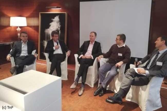 De gauche à droite: Guillaume Rabier (Alstom), Nicolas Barois (Voyages-SNCF), Christophe Lepage (BNP Asset Management), Alexandre Chauvin (Malakoff Mederic), Thierry Cartalas (TNP).