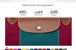 Des sacs Longchamp personnalis�s en magasin sur tablette
