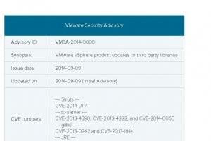 VMware applique � vSphere les correctifs de Struts, Tomcat et JRE