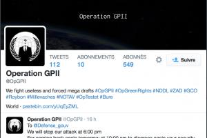 Le site web du minist�re de la D�fense bloqu� par les Anonymous OpGPII