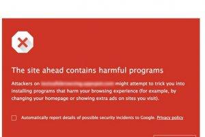 Google Chrome et Search alertent sur les sites douteux