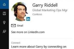 Cortana recherche les profils des interlocuteurs dans Linkedin