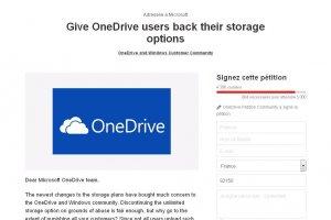 Les utilisateurs de OneDrive p�titionnent contre Microsoft