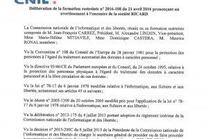 La CNIL inflige une sanction � Ricard pour d�faut de s�curit�