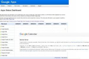 Google Agenda en panne