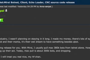 Le code source du botnet Mirai disponible en ligne