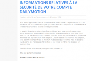 Plus de 87 millions d'identifiants de comptes Dailymotion volés