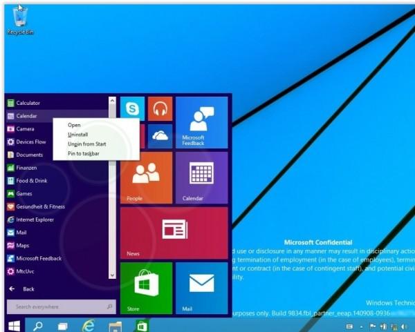 Des captures d'�cran de Windows 9 Technical Preview � destination des partenaires de Microsoft ont fuit� sur la toile.