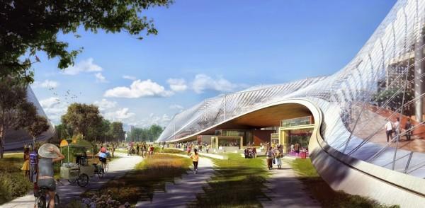 Pour son futur campus � Mountain View, Google a imagin� des structures l�g�res et mobiles et des coupoles translucides.