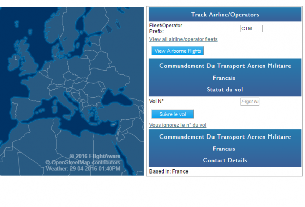 En recherchant les vols CTM sur flightaware.com, il est possible de suivre � la trace les vols du pr�sident de la R�publique et du Premier Ministre.