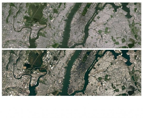 Google a affin� la pr�cision de sa mosa�que terrestre sur Earth et Maps avec Landsat 8. Ci-dessus, la ville de New York, avant et apr�s.