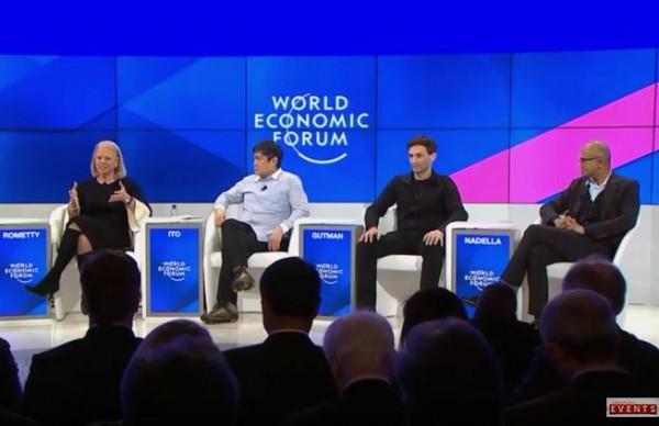 L'intelligence artificielle doit aider l'homme, non le remplacer, affirment les CEO d'IBM et Microsoft sur le Forum économique mondial de Davos.