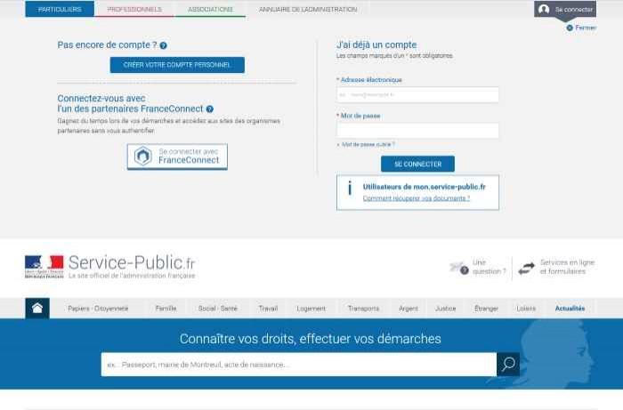Service-Public.fr opte pour le fédérateur d'identités France-Connect