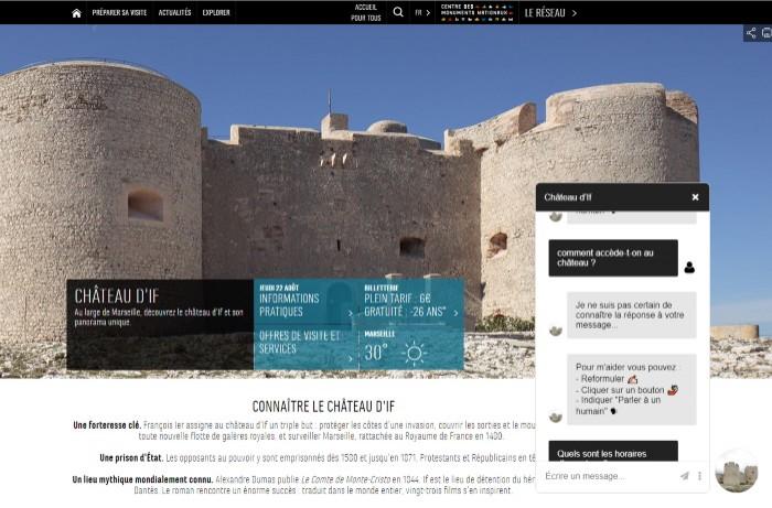Chatbots minimalistes expérimentaux pour 8 monuments nationaux