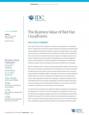 La valeur commerciale de Red Hat CloudForms