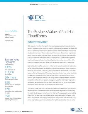 La valeur commerciale de Red Hat CloudForms