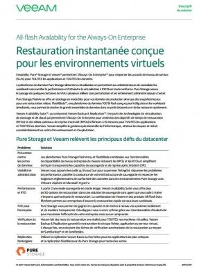 Restauration instantanée conçue pour les environnements virtuels
