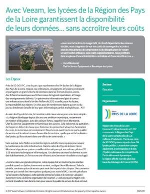 Success Story: les lycées de la Région des Pays de la Loire garantissent la disponibilité de leurs données... sans accroître leurs coûts