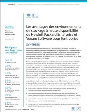 Les avantages des environnements de stockage � haute disponibilit� de Hewlett Packard Enterprise et Veeam Software