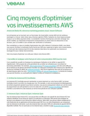 Cinq moyens d'optimiser vos investissements AWS