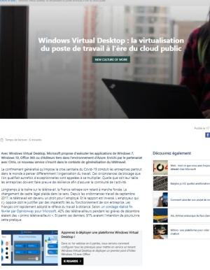 Windows Virtual Desktop, la virtualisation de vos postes de travail � l'�re du cloud public.
