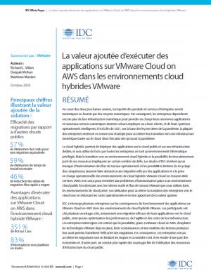 VMware Cloud on AWS�: une solution de choix dans un environnement Cloud hybride