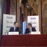 Thierry Breton, PDG d'Atos (à droite), et Philippe Vannier, PDG de Bull, ce matin lors du point presse donné en commun après l'annonce de l'offre de rachat d'Atos sur Bull. (crédit : LMI)