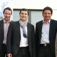 De gauche à droite : Philippe Besnier (président d'Adventi Informatique), Nicolas Orieux (responsable projet - Groupe Soregor), Claude Villain (président du Groupe Soregor),  Thierry Meynle (président du Groupe Divalto), Bruno Lagadec (DG de Mercure Informatique) et Hervé Houdebile (Président d'Adventi Informatique). Cliquez pour agrandir.
