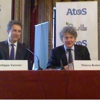 Philippe Vannier (à gauche), PDG de Bull, et Thierry Breton, PDG d'Atos, lors de leur conférence commune le 26 mai dernier. (crédit : ITNI)