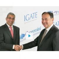 Ashok Vemuri, CEO d'Igate, et Paul Hermelin, PDG de Capgemini, ont annoncé aujourd'hui un accord définitif de fusion. Crédit : D.R