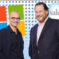 Satya Nadella (à gauche), le CEO de Microsoft, annoncera peut-être bientôt à ses troupes que sa société réalise un chiffre d'affaire dans le SaaS supérieur à Salesforce créé par Marc Benioff.  (Crédit photo : D.R.)