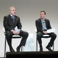 Antonio Neri (à droite), general manager de la division Enterprise de HPE, et Ben Golub, CEO de Docker, annoncent pour le 4ème trimestre des serveurs pré-testés pour la technologie de conteneurs Docker. (photo : LMI)