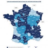 Le Plan France très haut débit accélère le rythme des déploiements, ci-dessus, la carte des investissements engagés dans les réseaux des collectivités territoriales en millions d'euros (source : FIRIP)