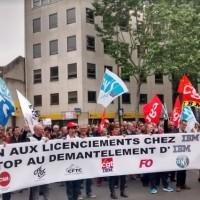 Plusieurs centaines de salariés du siège social d'IBM France à Bois-Colombes avaient répondu à l'appel lancé par l'intersyndicale pour protester contre le PSE en cours. Crédit : D.R.