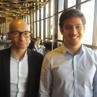 Laurent Moquet, chef de produit BtoB chez Samsung, et Gauthier Hyunh, chef de produit smartphone et VR chez Samsung. (crédit : D.F.)