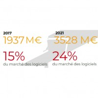 Volumes et dynamique du marché français du SaaS en 2017 et 2021. Crédit : IDC