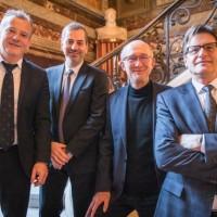 De gauche à droite, Philippe Rivière, PDG de Septeo, Thierry Mallate et Patrick Deleau, directeur général et PDG de Legal Suite et Philippe Boixel, directeur général de Septeo. (crédit D.R.)