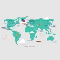 Pour opérer son cloud public, Microsoft a mis en place 50 régions Azure dans le monde, ce qui comprend des projets pour 12 nouvelles régions. (Crédit : Microsoft)