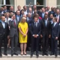 Virginia Rometty (au centre en jaune), CEO d'IBM, a été reçue à l'Elysée par Emmanuel Macron à l'occasion du sommet Tech For Good, ce 23 mai 2018. (crédit : D.R.)