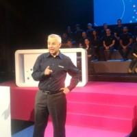 Stéphane Allaire, président d'Objenious, la filiale de Bouygues Télécom dédiée à l'Internet des objets, sur la scène du Théâtre du Trianon à Paris le 6 juin 2018. (crédit : D.F.)