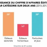 Entre 2015 et 2017, la croissance des éditeurs de logiciels a été tirée par les acteurs sectoriels et par la catégorie « Particuliers et jeux vidéo ». (Crédit : Syntec Numérique/EY)