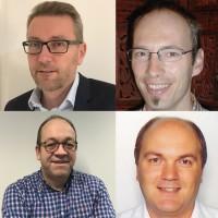 Benoit Baron (en haut à gauche) intègre 2CRSI en tant que directeur commercial et marketing, François Jeanmougin (en haut à droite) en tant que responsable avant-vente HPC, Hubert Mathis (en bas à gauche) comme directeur des opérations et Christian Tourneur comme directeur des achats. (Crédit : 2CRSI)