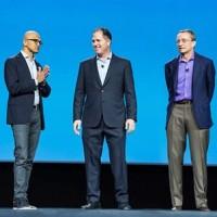 Satya Nadella, Michael Dell et Pat Gelsinger sont réunis pour présenter l'intégration de VMware sur Azure. (Crédit Photo : Dell)