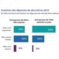 Dans l'ensemble les ETI comptent plus stabiliser leurs dépenses en cybersécurité en 2019, quand les plus grandes entreprises augmenteront ces budgets. (Crédit : IDC / Wallix)