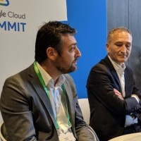 « La banque a énormément besoin de capacités IA et cela ne démarre que maintenant avec deux ans de retard sur les Etats-Unis », concède Bastien Legras (à gauche), directeur technique de Google France. A droite : Eric Haddad, directeur général de Google France (crédit : D.F.)