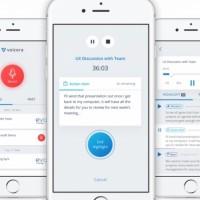 Lors des réunions professionnelles, l'app mobile de Voicea, sur iOS ou Android, permet d'activer un assistant qui écoute les échanges, prend des notes et les envoie par courriel à l'issue de la séance. (Crédit : Voicea)
